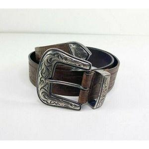 Bogner Western Tooled Leather Adjust Buckle Belt 6